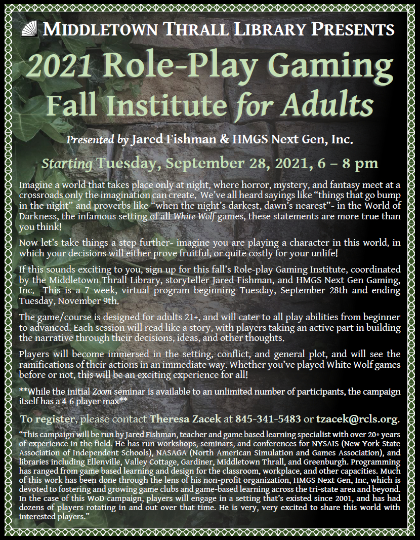 2021 Role Playing Institute for Adults