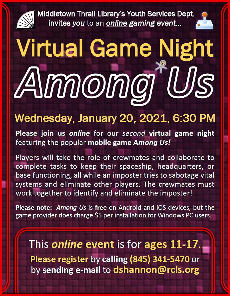 Video Game Night - Among Us - Jan. 2021