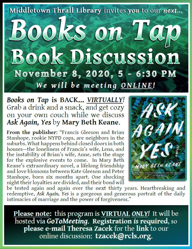 Books on Tap: November 2020