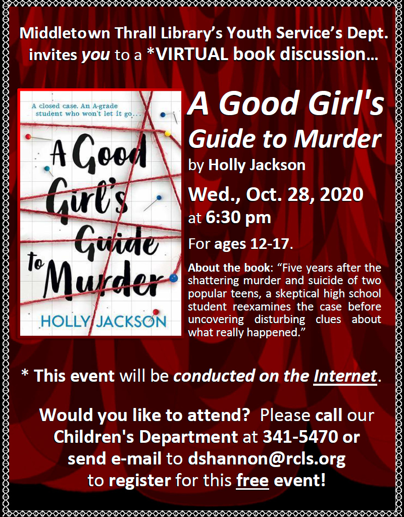 Youth Services - Virtual Book Discussion - October 2020