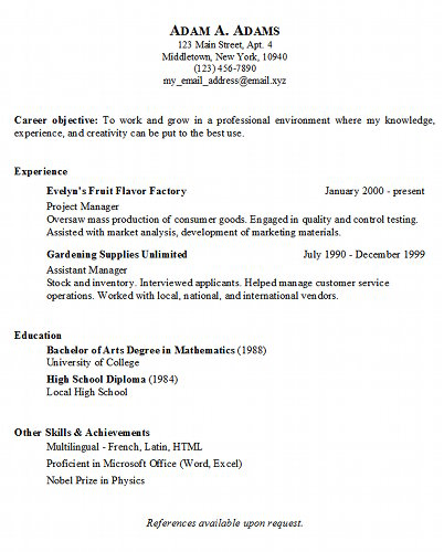 about this service - Copy Of A Resume Format